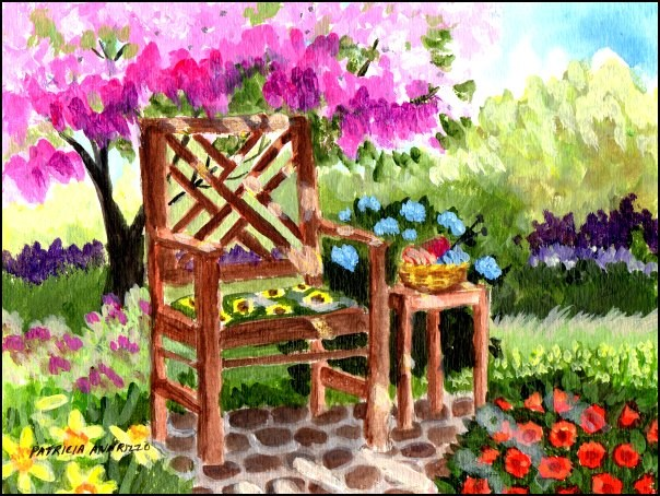"""Summertime in the Garden"" original fine art by Patricia Ann Rizzo"