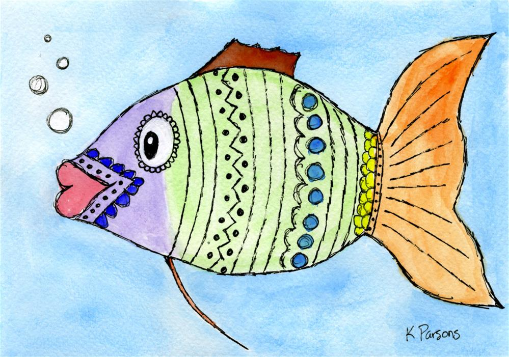 """Kissing Fish"" original fine art by Kali Parsons"