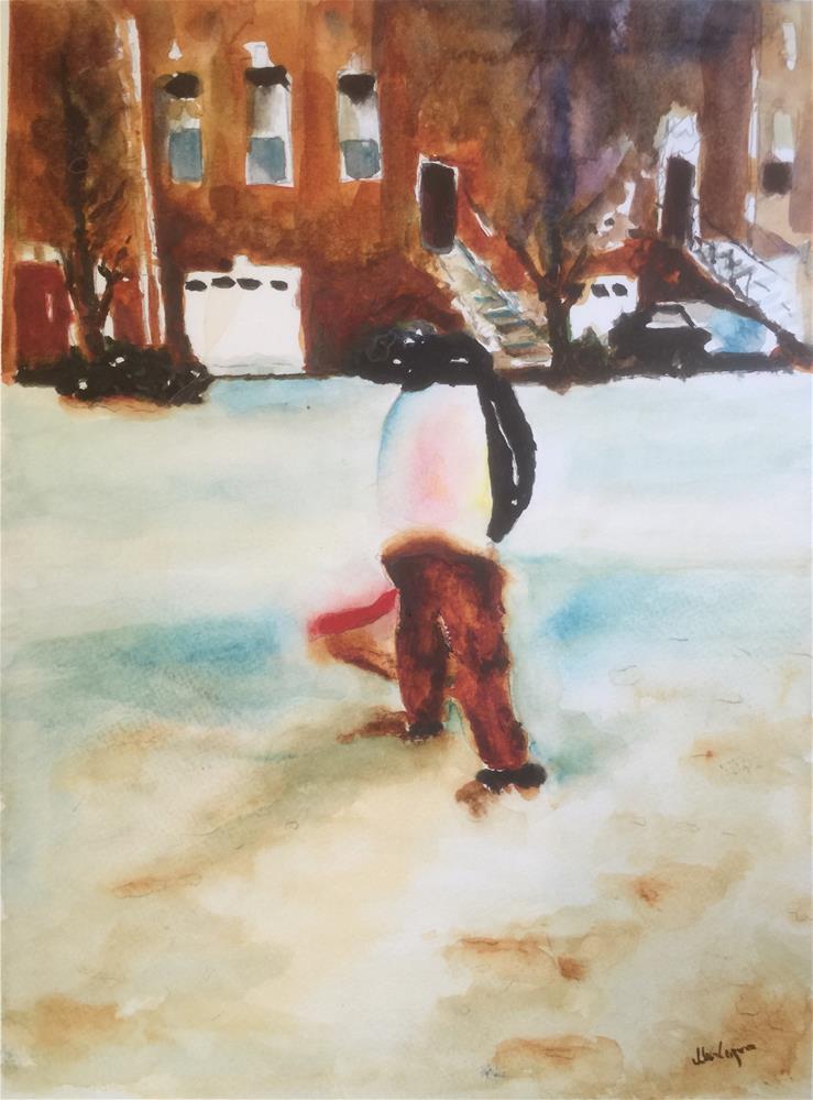 """Snow Cleaning"" original fine art by Juan Velasquez"