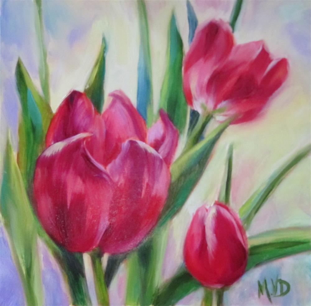 """Garden Tulips"" original fine art by Mary Van Deman"