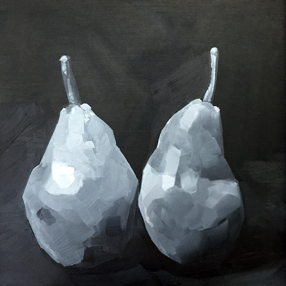 """BW Pear Pair"" original fine art by Elizabeth Dawn Johnston"