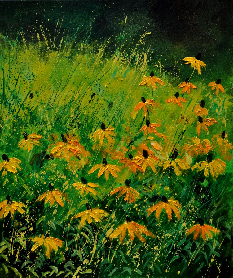 """rudbeckias 67"" original fine art by Pol Ledent"