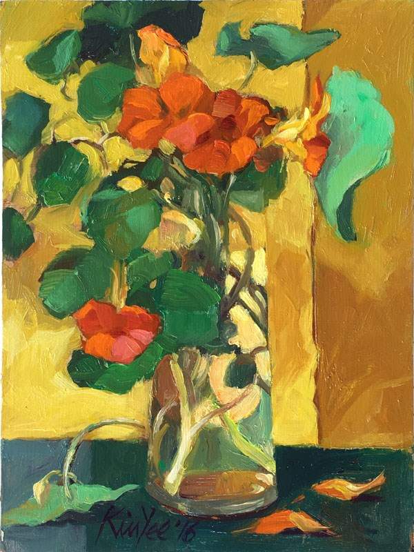 """Oh those Nasturtiums"" original fine art by Myriam Kin-Yee"