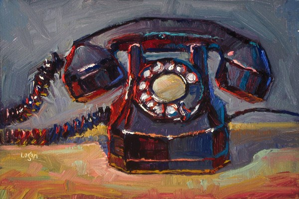 """Old Automatic Electric Telephone"" original fine art by Raymond Logan"