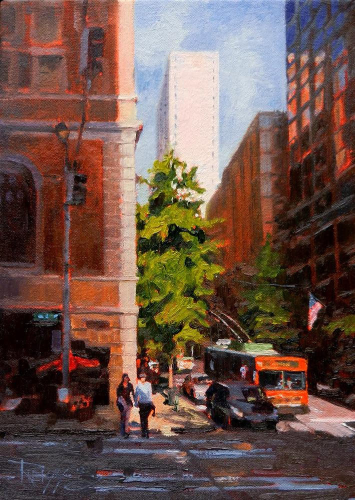 """Somewhere on Fourth Street Seattle, cityscape oil painting, by Robin Weiss."" original fine art by Robin Weiss"