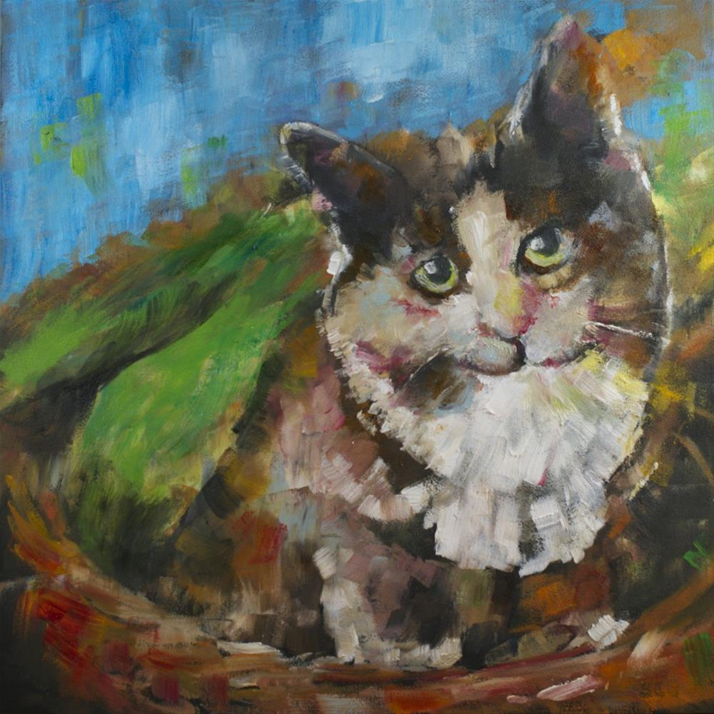 """: Kitten in a Basket"" original fine art by Sue Churchgrant"