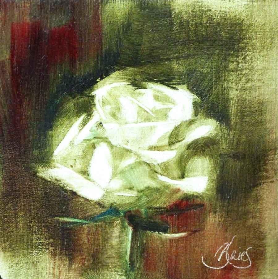 """White Rose Study 2"" original fine art by Pamela Blaies"