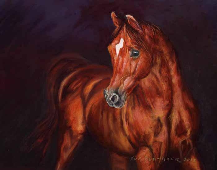 """""""Chestnut Arabian Stallion"""" original fine art by Sue Deutscher"""