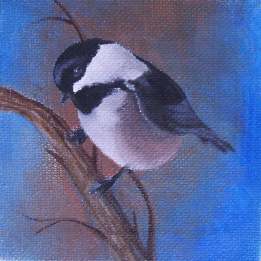 """Black Capped chickadee"" original fine art by John Marcum"