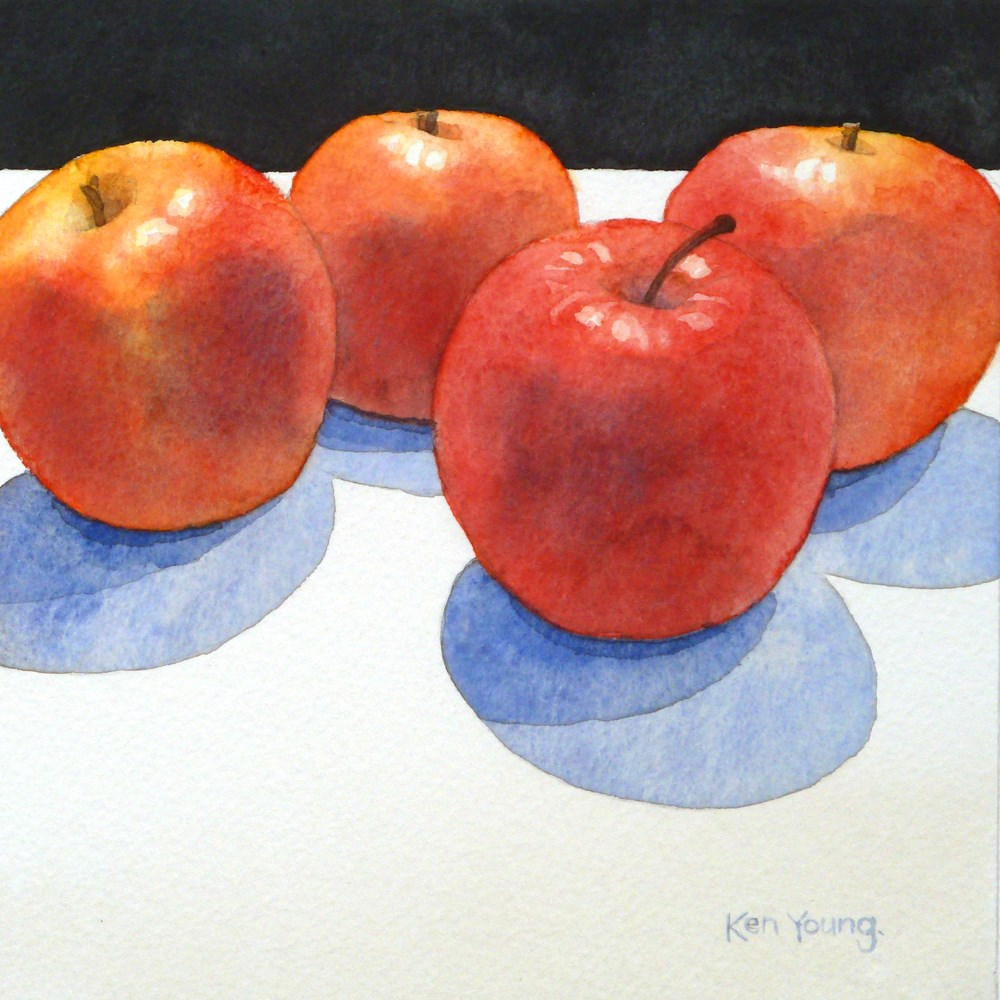 """""""Apples On The Edge"""" original fine art by Ken Young"""