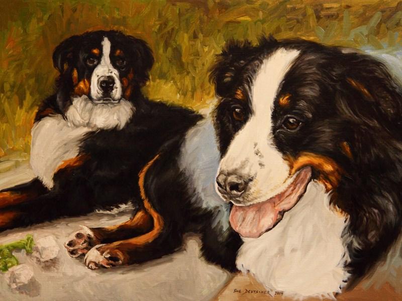 """""""Gunner pet portrait"""" original fine art by Sue Deutscher"""