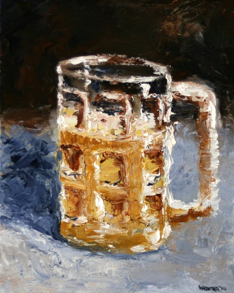"""Mark Webster - Beer Mug Palette Knife Oil Painting"" original fine art by Mark Webster"