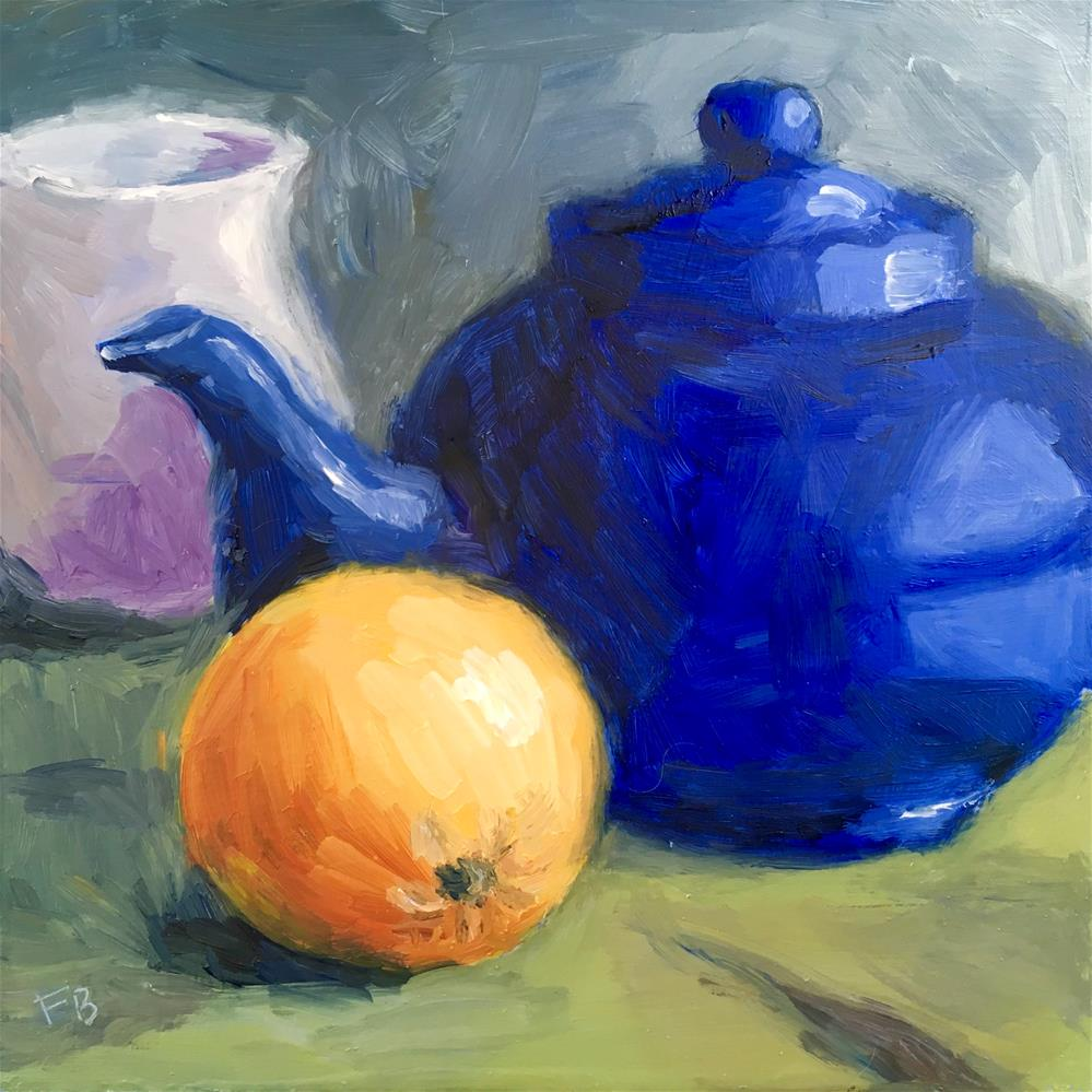 """131 Tea Pot With Orange"" original fine art by Fred Bell"
