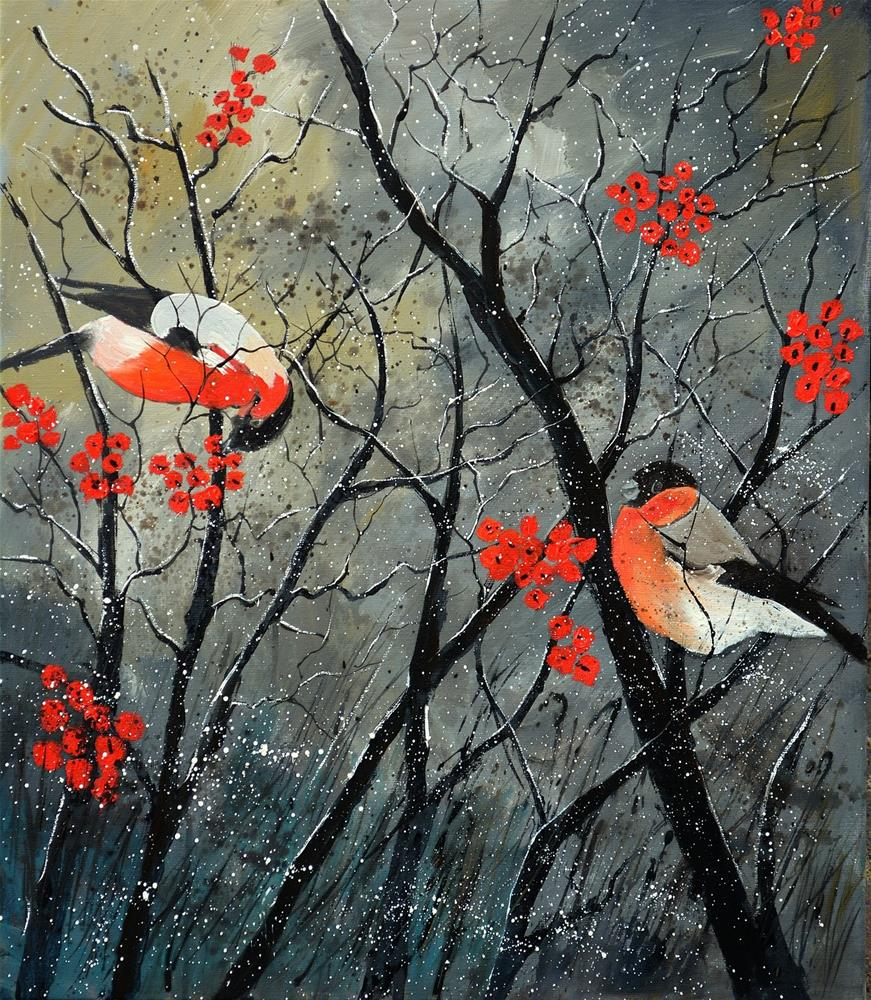 """birds in winter"" original fine art by Pol Ledent"