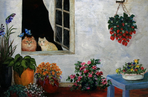 """Purr-fect Afternoon"" original fine art by Jean Nelson"