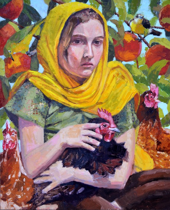 """""""Abby With Chickens"""" original fine art by Andrew Daniel"""