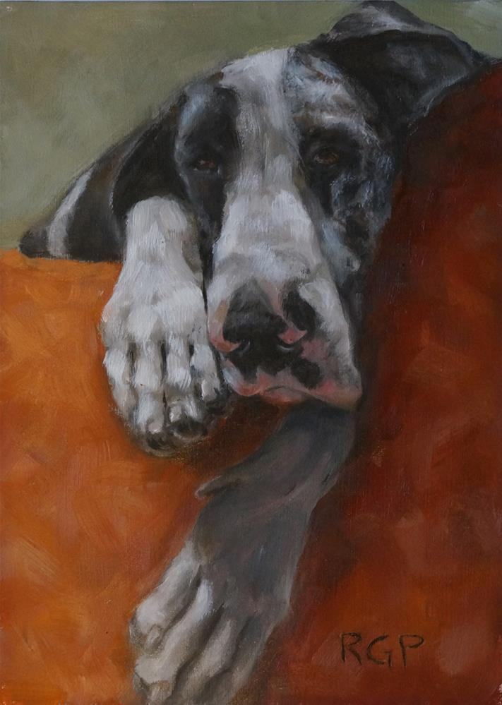 """Ella, the Sleepy Great Dane"" original fine art by Rhea  Groepper Pettit"