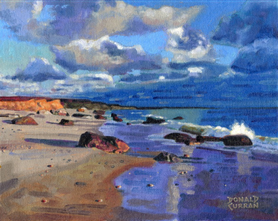 """California Beach"" original fine art by Donald Curran"
