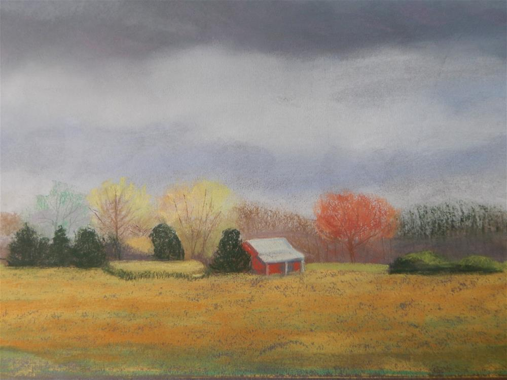 """""""Spring Storm Clouds over Old Red Barn"""" original fine art by Elaine Shortall"""