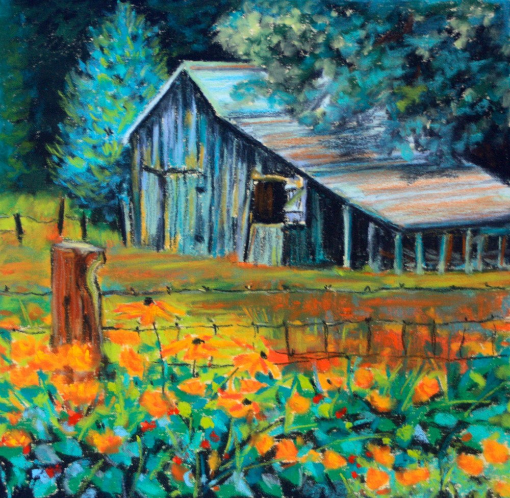 """Marigolds and Barbed Wire"" original fine art by Jill Bates"