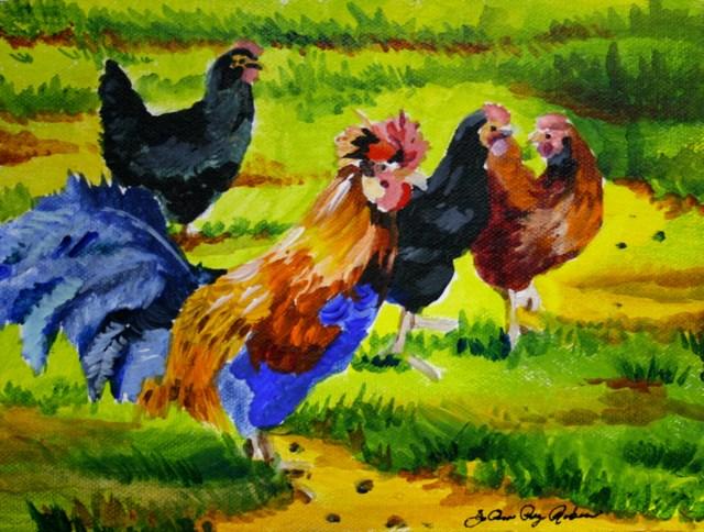 """Sassy Chicks"" original fine art by JoAnne Perez Robinson"
