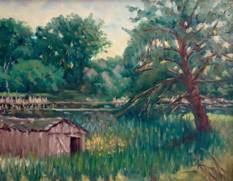 """Boat House en Plein air"" original fine art by Daniel Fishback"
