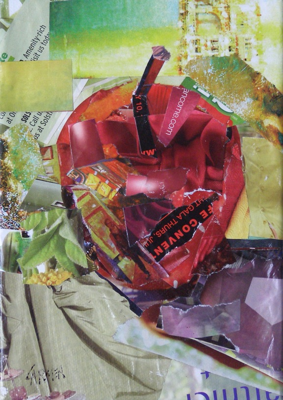 """Apple Time, 5x7 Collage"" original fine art by Carmen Beecher"