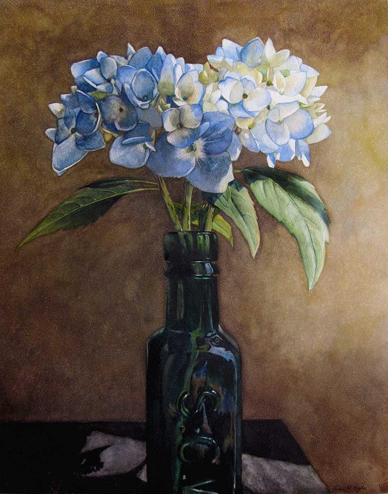 """Hydrangea in Green Glass"" original fine art by Kara K. Bigda"