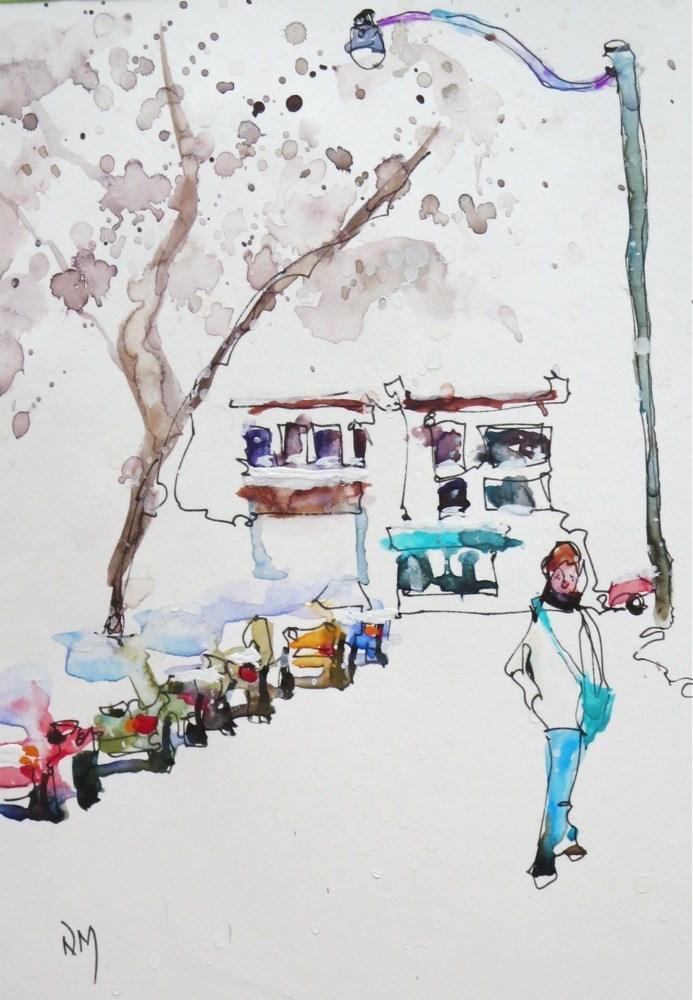 """""""snowy side street"""" original fine art by Nora MacPhail"""