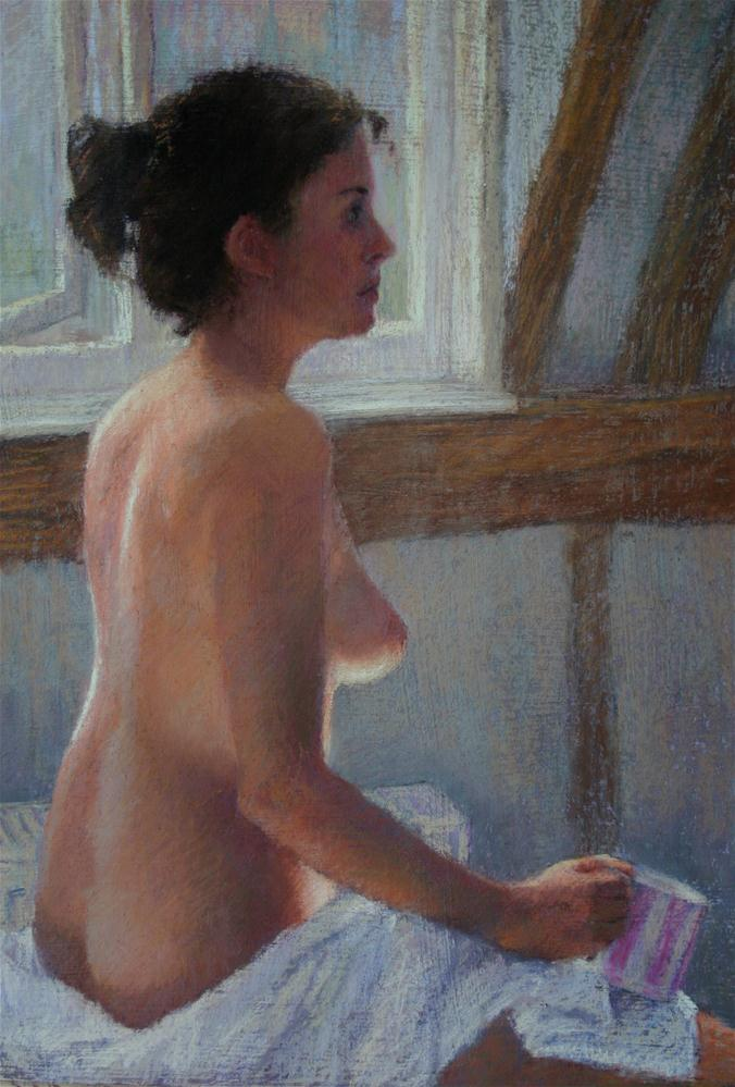 """After the bath"" original fine art by Liz Balkwill"