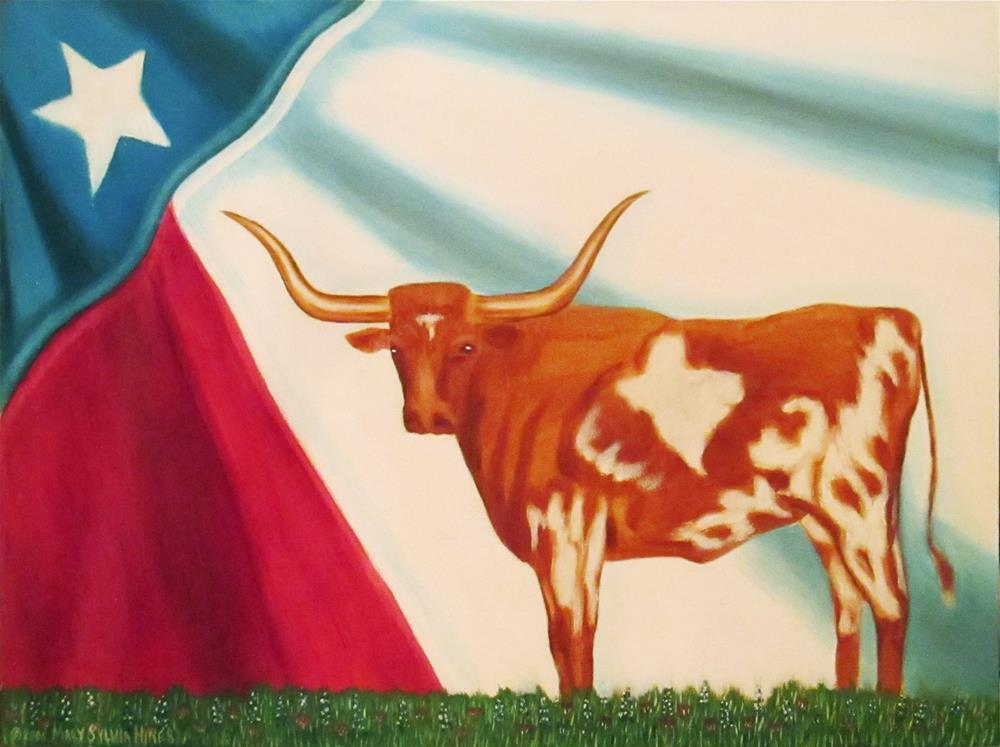 """Texas Longhorn-01"" original fine art by Mary Sylvia Hines"
