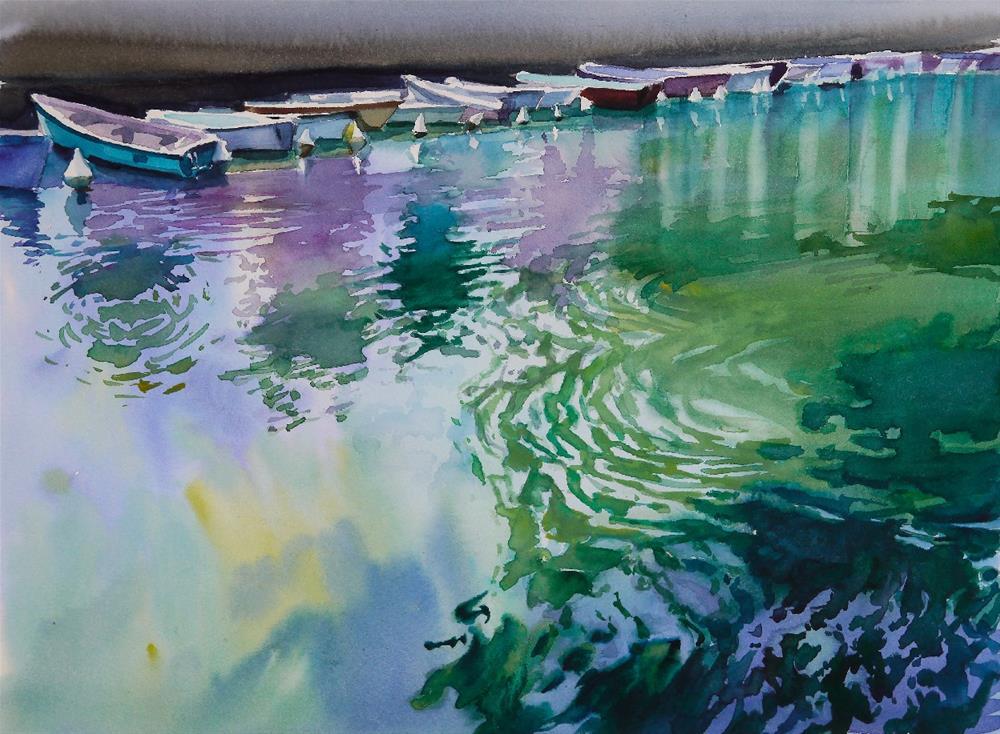 """Annecy-river"" original fine art by Beata Musial-Tomaszewska"