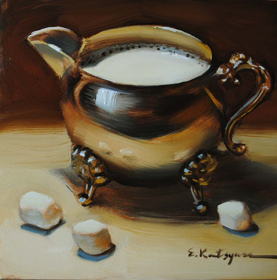 """Milk and Marshmallows"" original fine art by Elena Katsyura"