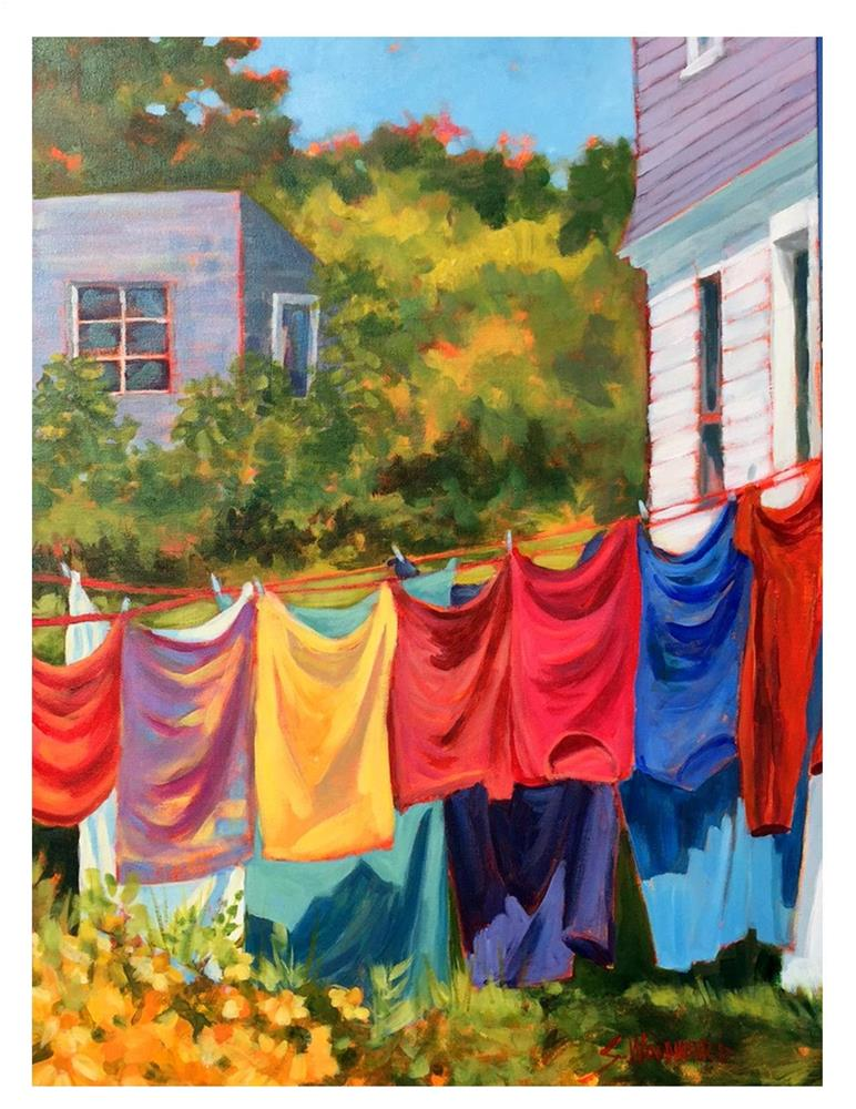 """Laundry Day On Monhegan"" original fine art by Suzanne Woodward"
