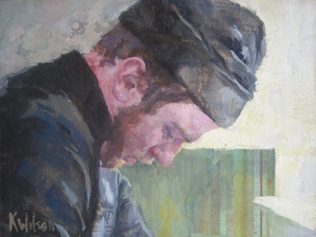 """Black Cap"" original fine art by Katie Wilson"