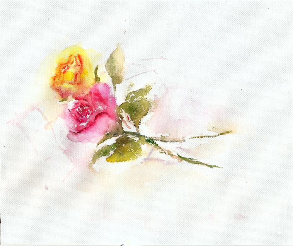 """Two roses"" original fine art by Asha Shenoy S"