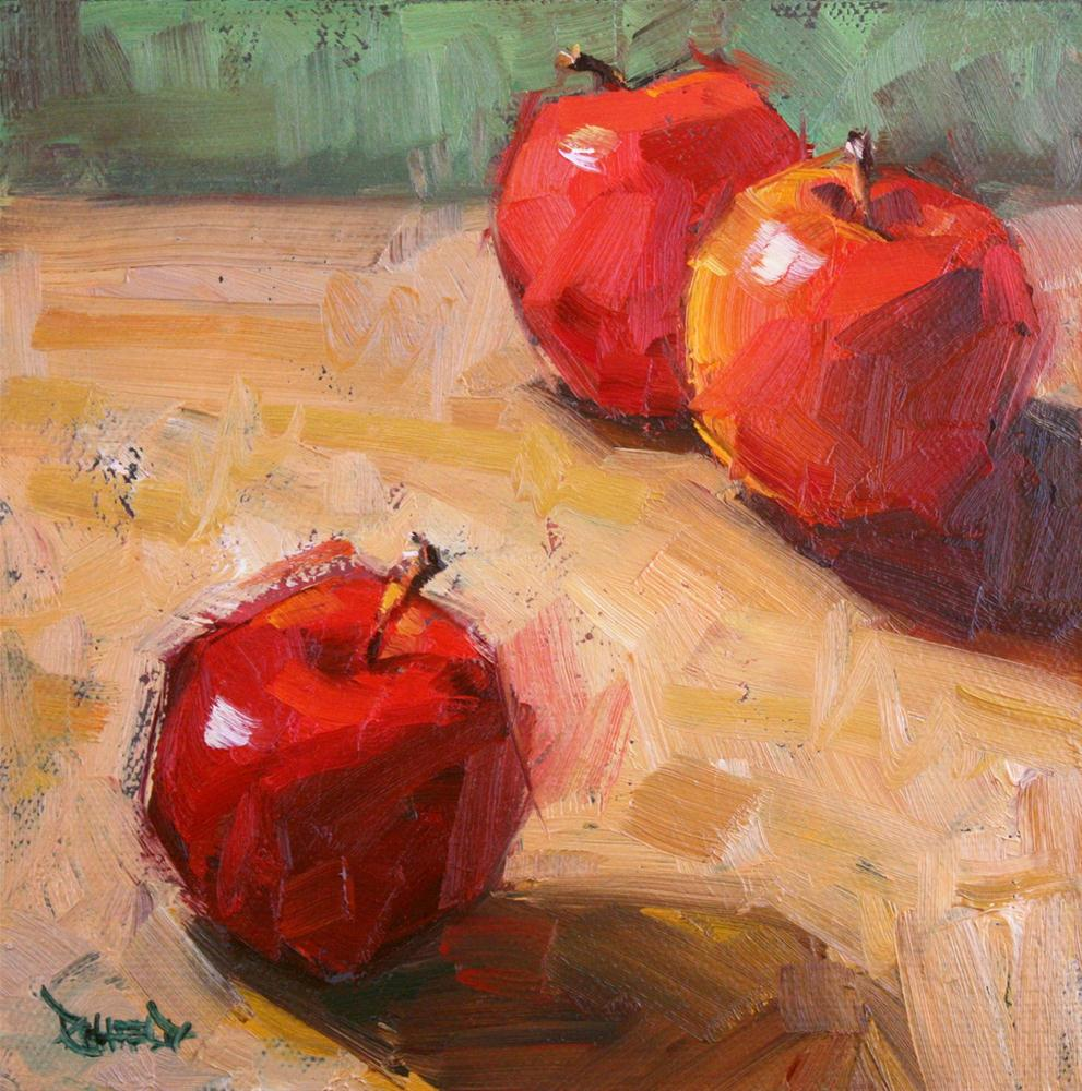 """3 Apples"" original fine art by Cathleen Rehfeld"