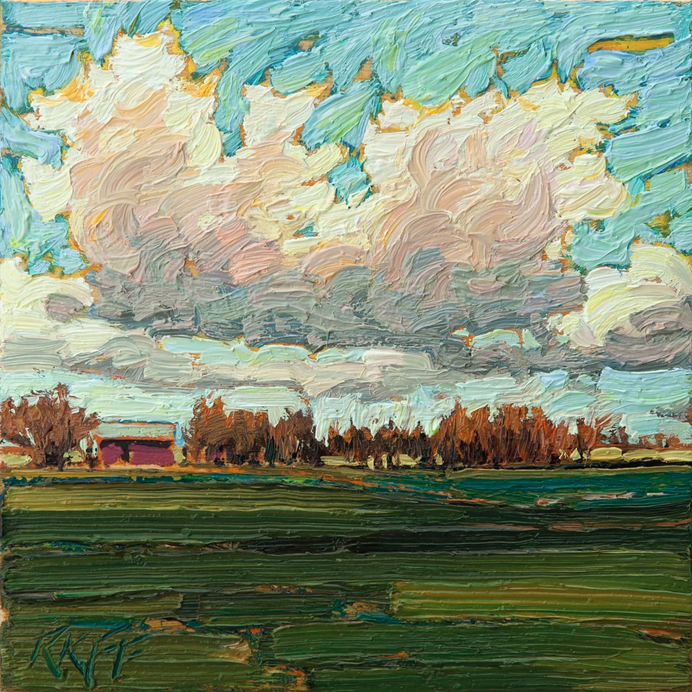 """Sunny Fields: 6x6 oil on panel"" original fine art by Ken Faulks"
