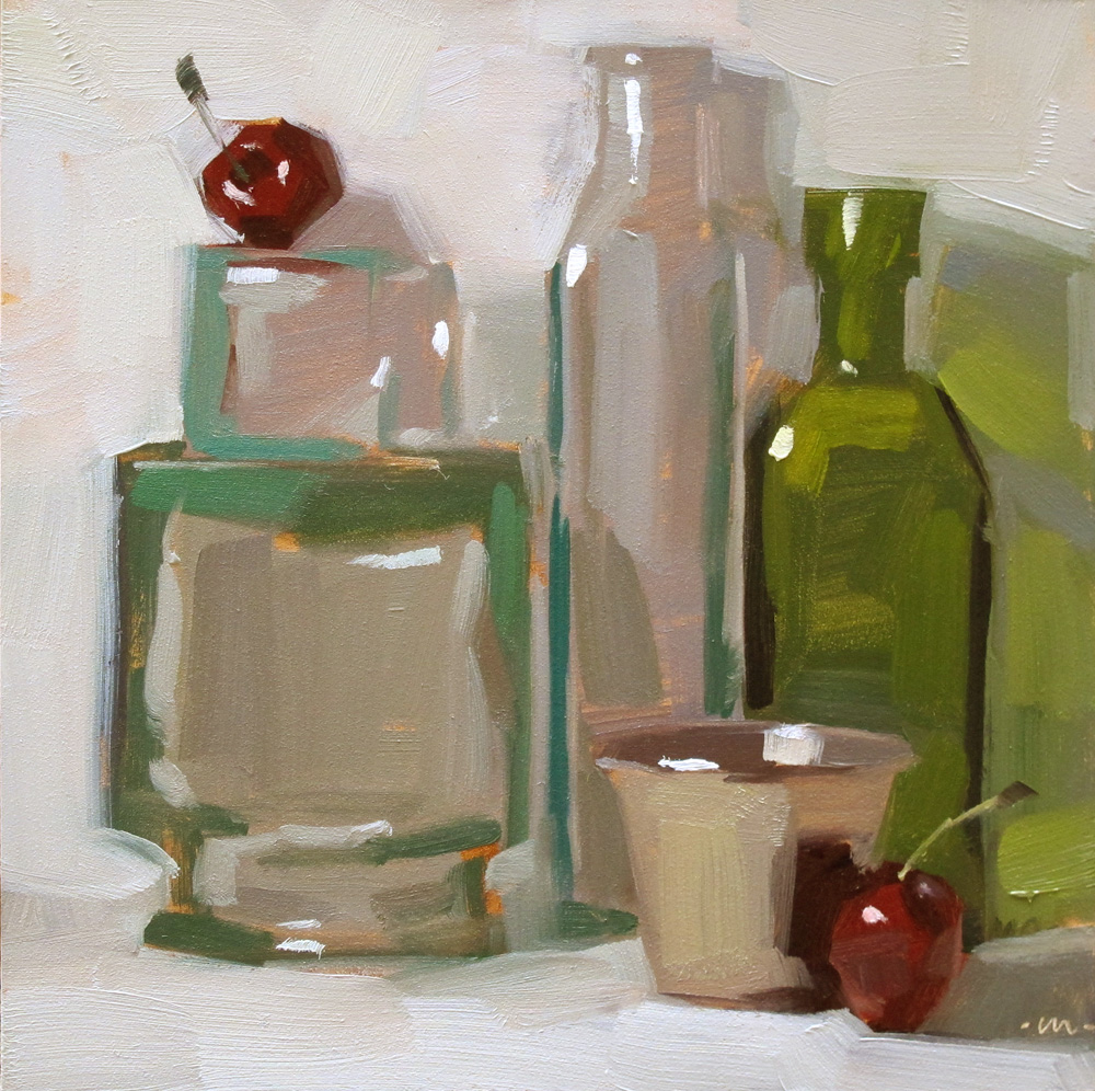 """Coy Cherries"" original fine art by Carol Marine"