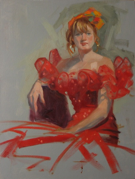 """Red sequin dress 9x12 oil on canvas"" original fine art by Claudia Hammer"