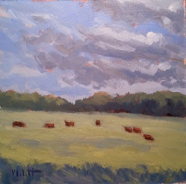 """Cows Grazing in Clusters Farm Life Original Oil Painting"" original fine art by Heidi Malott"