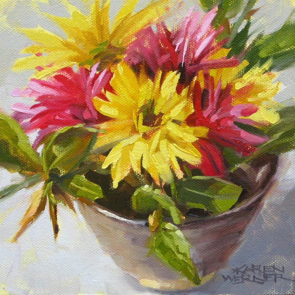 """Floral Bowl"" original fine art by Karen Werner"