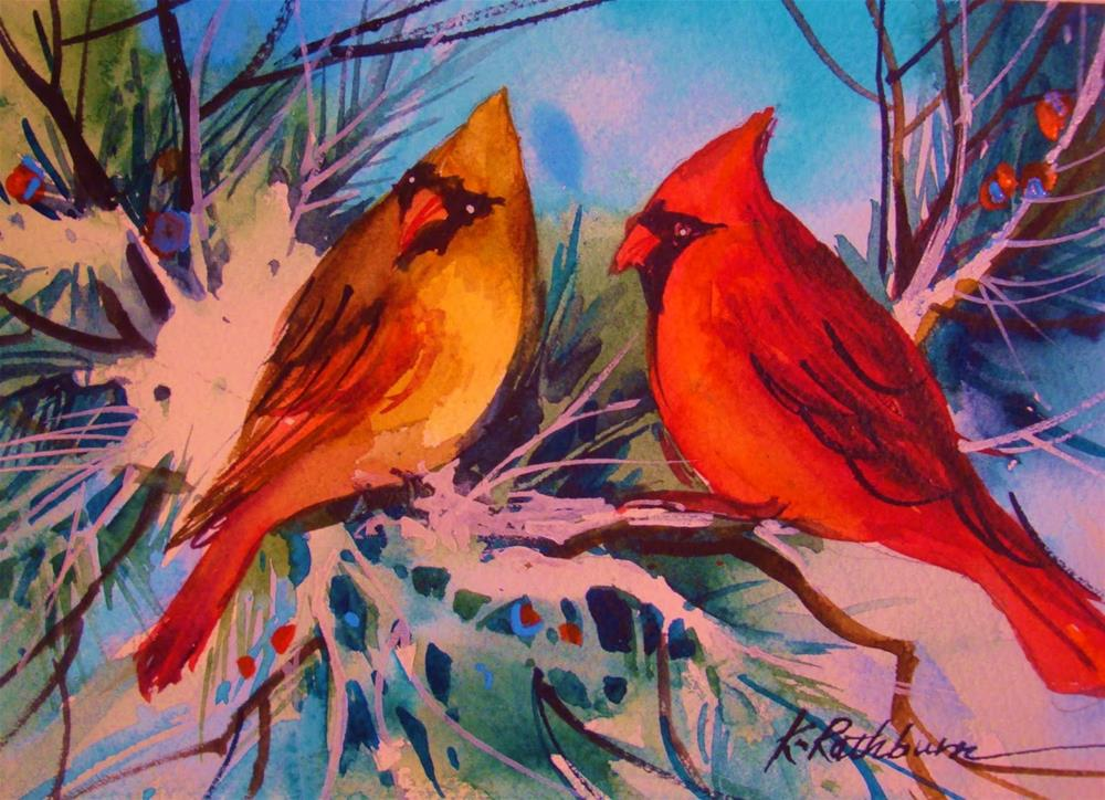 """Cardinals III"" original fine art by Kathy Los-Rathburn"
