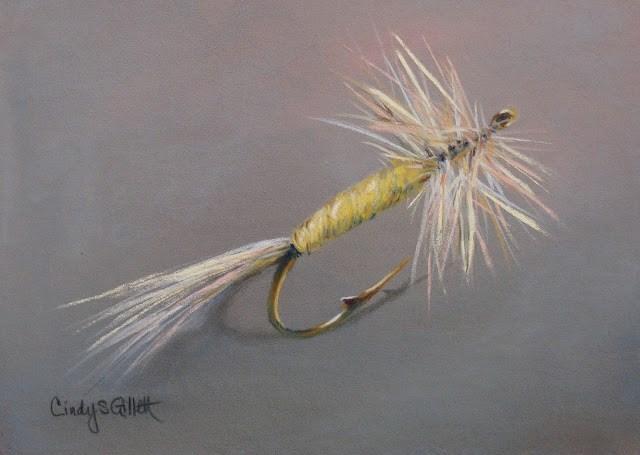 """Fly 23 - Pale Morning Dun Mayfly"" original fine art by Cindy Gillett"