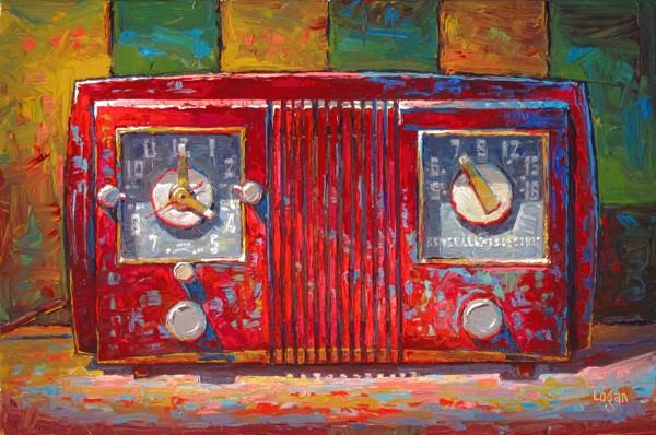 """GE Clock Radio Red and Square(ish)"" original fine art by Raymond Logan"