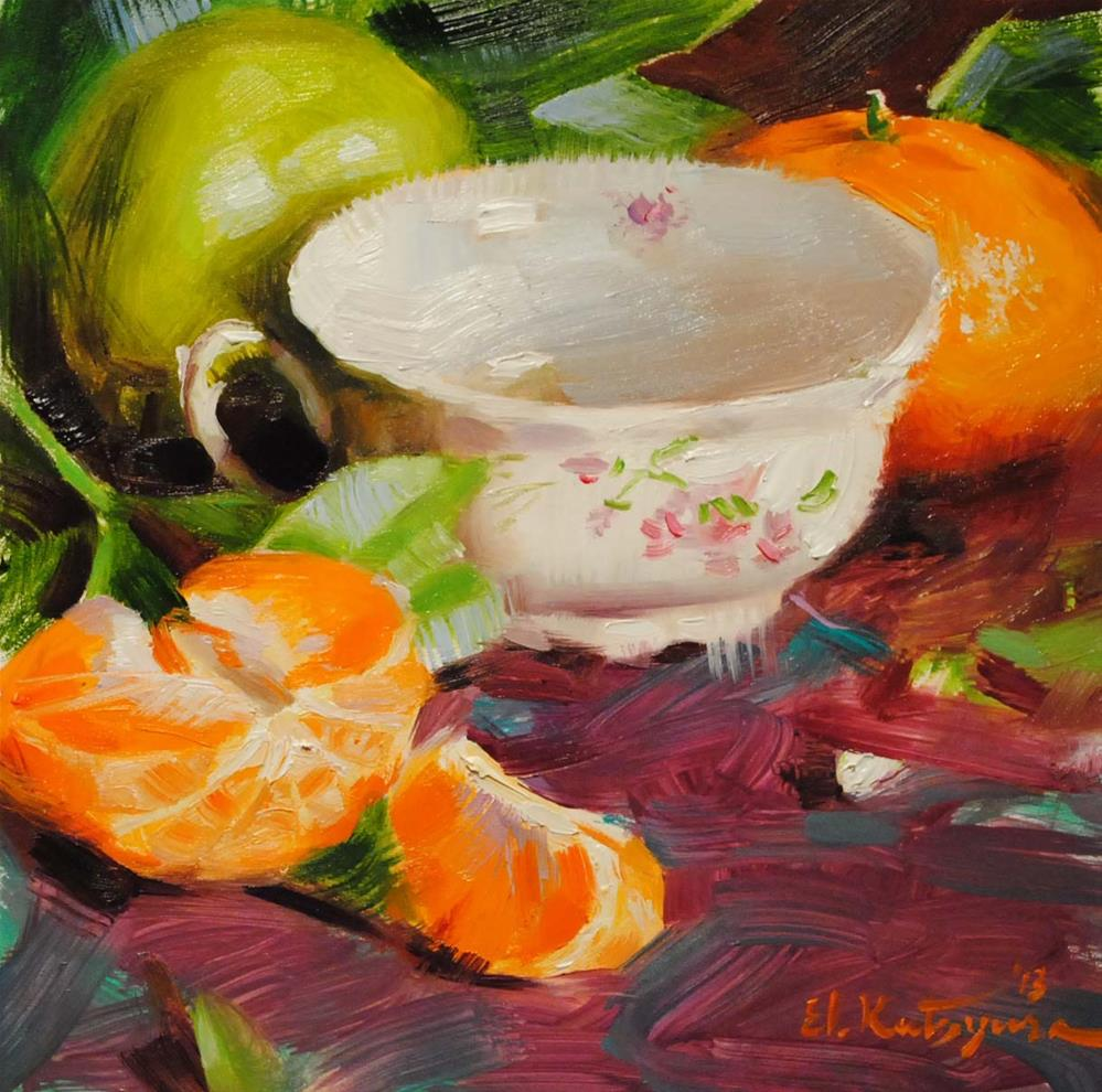 """Teacup and Mandarines"" original fine art by Elena Katsyura"
