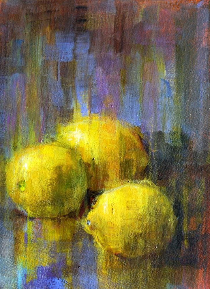 """""""Slow-dry Lemons"""" original fine art by Julie Ford Oliver"""