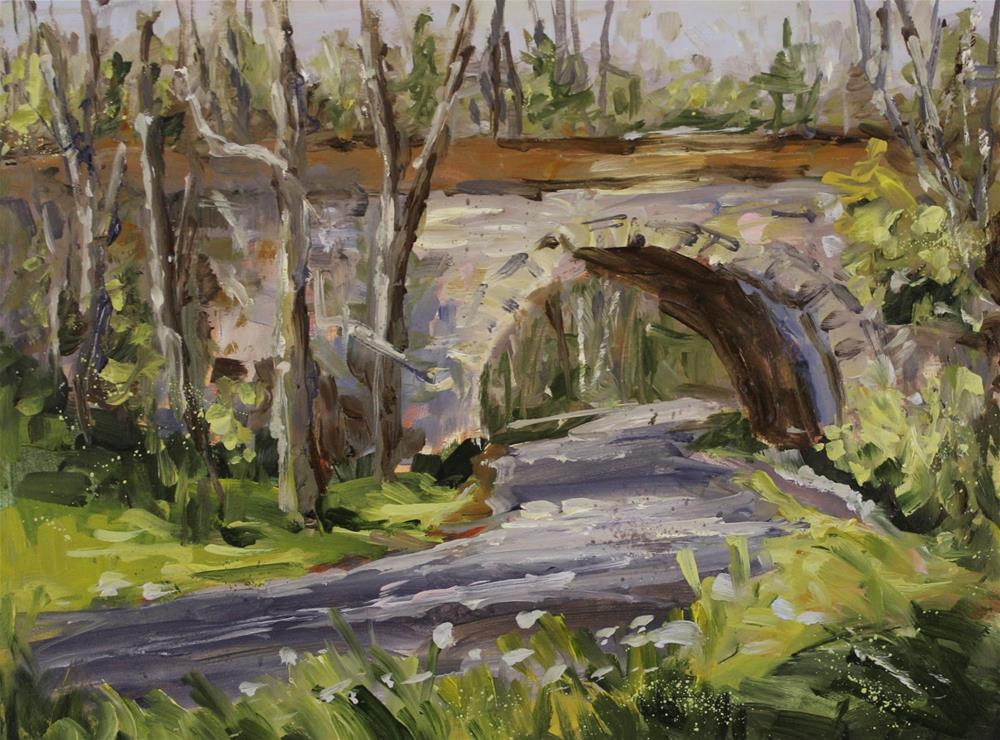 """Donnelley RR Trestle Oil Landscape Bridge Painting"" original fine art by Alice Harpel"