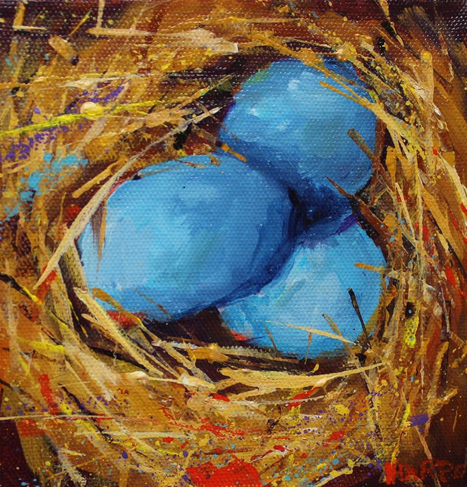 """Original Blue Eggs Nest Still life Acrylic"" original fine art by Alice Harpel"
