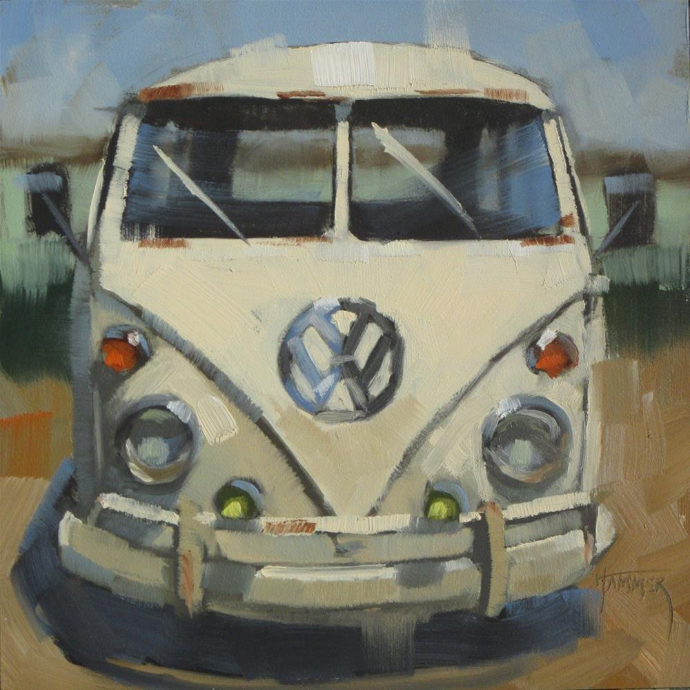 """1966 VW White Van  6in x 6in   oil"" original fine art by Claudia Hammer"